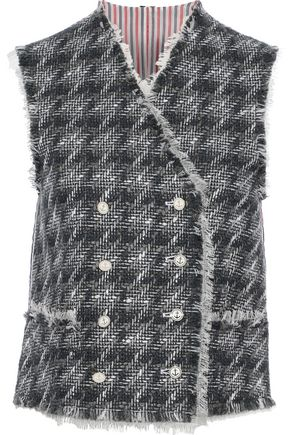 THOM BROWNE Double-breasted wool-blend tweed and striped shell vest