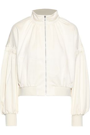 TIBI Cropped stretch-piqué track jacket