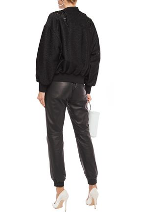 IRO Lace-up metallic bouclé-tweed bomber jacket
