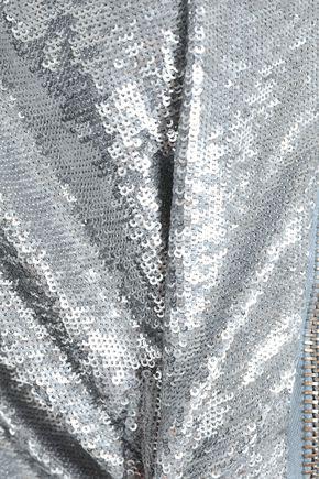IRO ヴィンテージ加工 デニム&スパンコール付き メッシュ ボンバージャケット