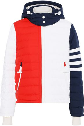 THOM BROWNE Quilted color-block shell down hooded coat