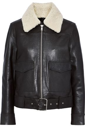 STAND STUDIO Danica shearling-trimmed textured-leather biker jacket