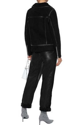 STAND STUDIO Lea leather-trimmed shearling biker jacket