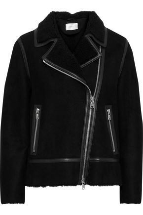 STAND STUDIO Lea leather-trimmed shearling biker jacket