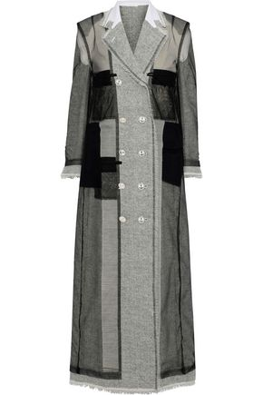 THOM BROWNE Double-breasted layered mesh and herringbone wool coat