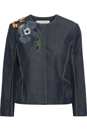 CAROLINA HERRERA Floral-appliquéd denim jacket