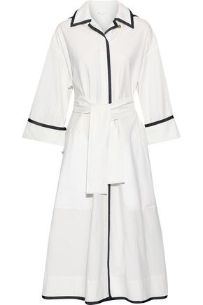 THOM BROWNE Tie-front grosgrain-trimmed cotton-canvas hooded coat