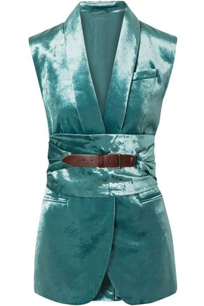 BRUNELLO CUCINELLI Belted cotton-blend velvet vest