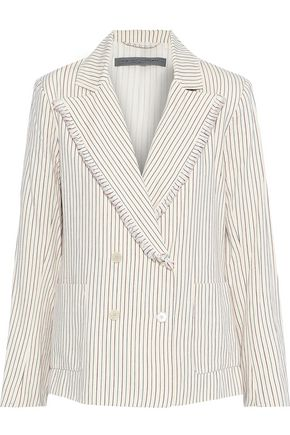 RAQUEL ALLEGRA Double-breasted frayed striped cotton blazer