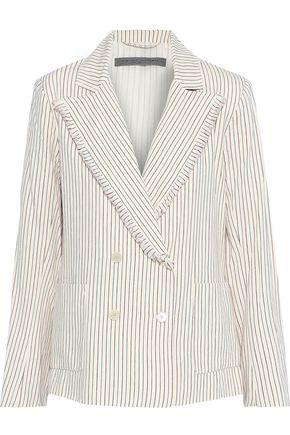RAQUEL ALLEGRA Double-breasted frayed striped cotton blazer