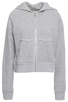 SIMON MILLER Frayed mélange French cotton-terry hooded jacket