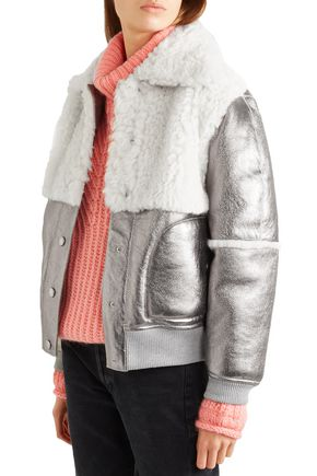 SEE BY CHLOÉ Shearling-paneled metallic leather jacket