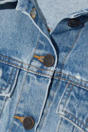 VERONICA BEARD Cara cropped distressed denim jacket
