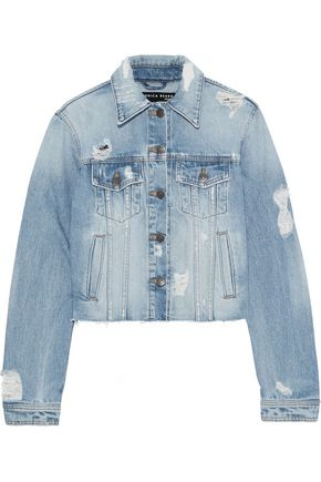 VERONICA BEARD Cara cropped distressed denim jacket