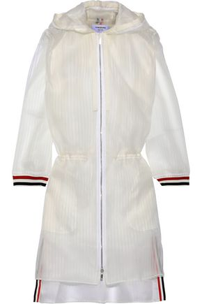 THOM BROWNE Striped tulle hooded jacket