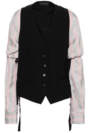 ANN DEMEULEMEESTER Paneled woven, twill and georgette jacket