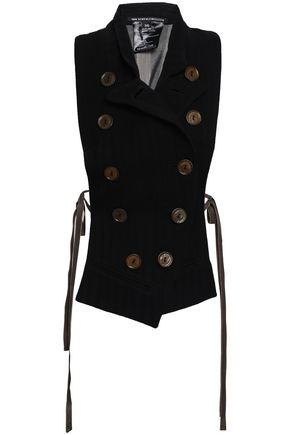 ANN DEMEULEMEESTER Double-breasted printed wool-blend vest