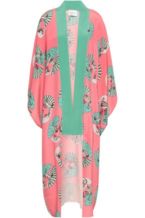 RACIL Printed silk crepe de chine robe