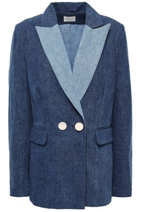 SIMON MILLER Double-breasted two-tone denim blazer