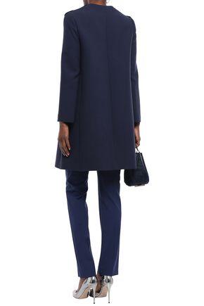 LANVIN Floral-appliquéd wool-crepe coat