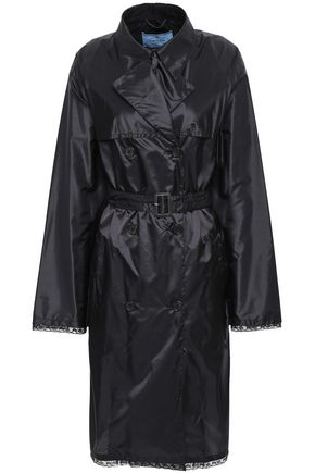 PRADA Lace-trimmed shell trench coat