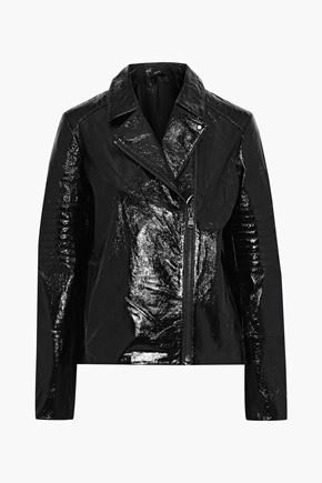 J BRAND Aimee crinkled patent-leather biker jacket