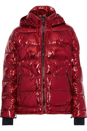 49WINTERS Metallic quilted shell hooded down jacket