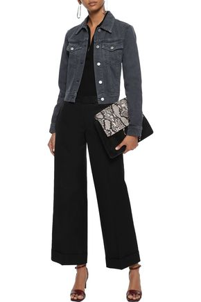 J Brand Woman Harlow Cropped Snake-Print Denim Jacket Anthracite