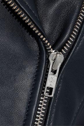 IRIS & INK リブ編みニットパネル レザー ライダースジャケット