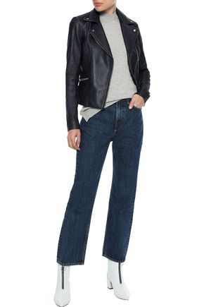 IRIS & INK Lovisa ribbed knit-paneled leather biker jacket