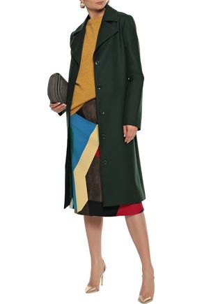 Lela Rose Coats LELA ROSE WOMAN WOOL-TWILL COAT DARK GREEN