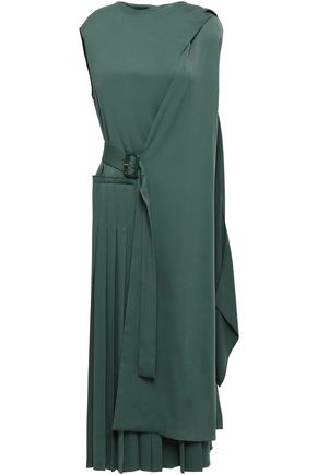JOSEPH Pleated cady midi wrap dress