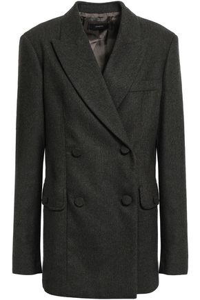 JOSEPH Double-breasted herringbone wool-blend blazer