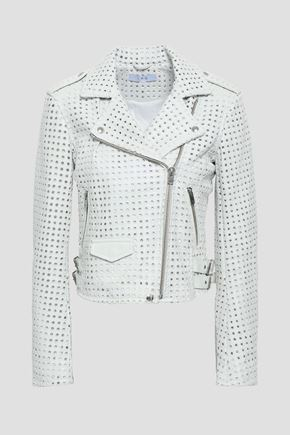 IRO Eyelet-embellished leather biker jacket