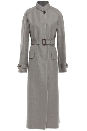 JOSEPH Belted houndstooth cotton coat