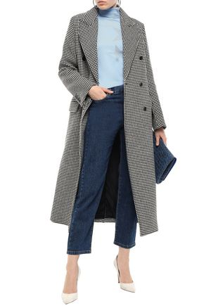 Joseph Woman Double-Breasted Houndstooth Donegal Wool-Blend Coat Black