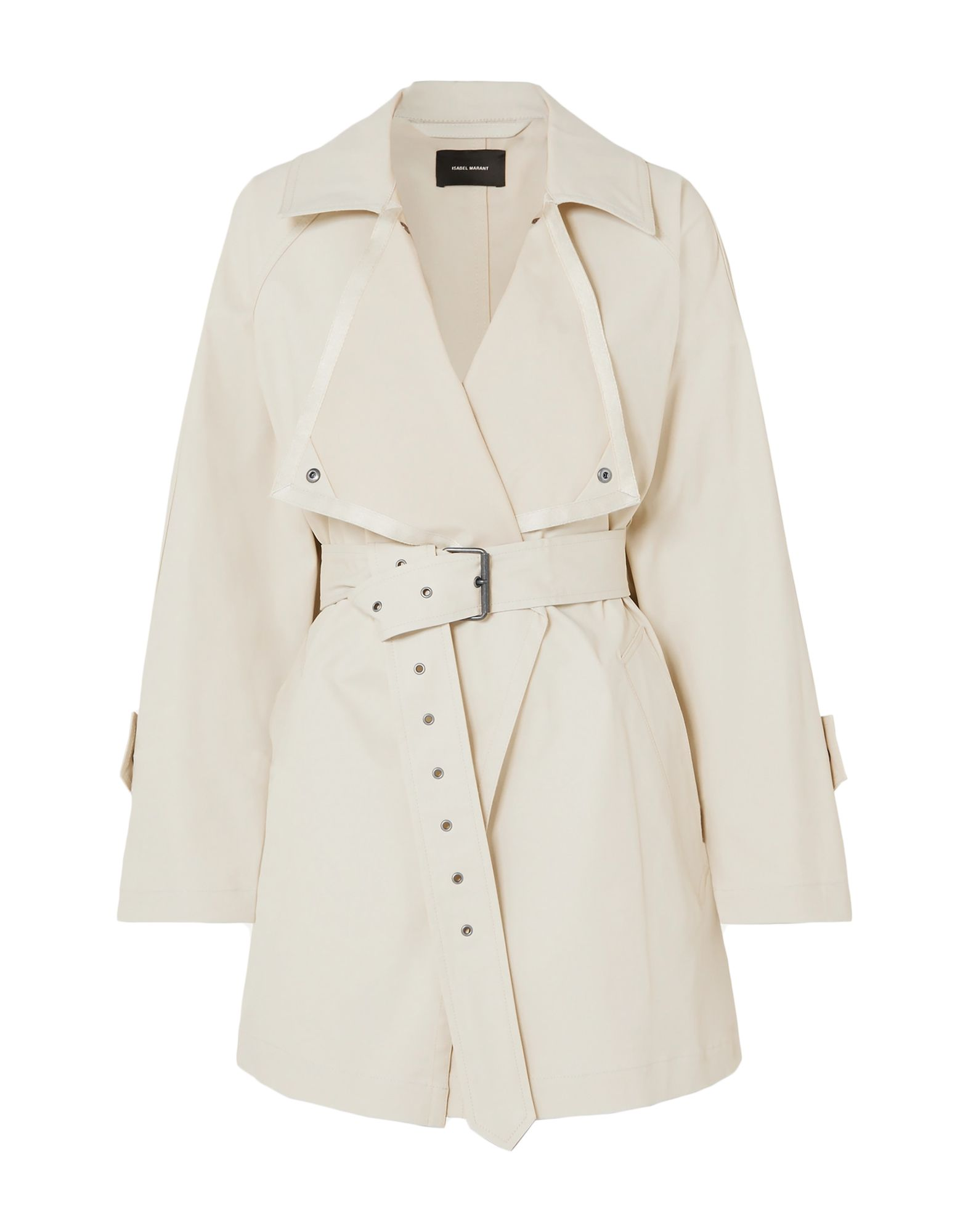 ISABEL MARANT Overcoats. plain weave, solid color, multipockets, long sleeves, unlined, single-breasted, belt, lapel collar, stretch, large sized. 97% Cotton, 3% Elastane