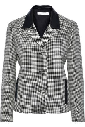 PHILOSOPHY di LORENZO SERAFINI Faux leather-trimmed houndstooth wool jacket