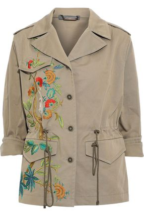 ALBERTA FERRETTI Embroidered cotton-blend gabardine jacket