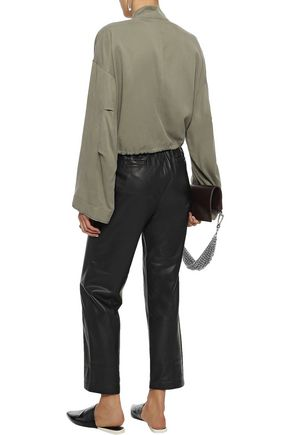 3.1 PHILLIP LIM Cropped satin-paneled Tencel and cotton-blend jacket