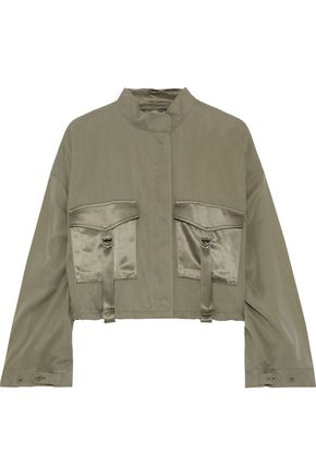 3.1 PHILLIP LIM Cropped satin-trimmed Tencel and cotton-blend jacket