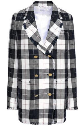 THOM BROWNE Frayed checked wool-blend blazer