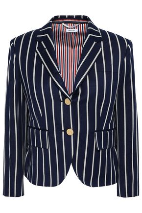 THOM BROWNE Striped wool and cotton-blend twill blazer