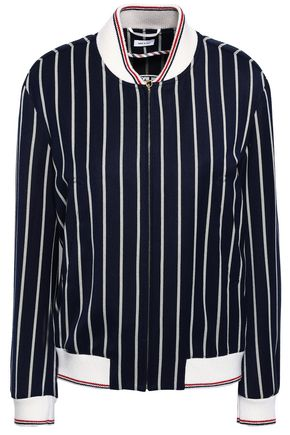 THOM BROWNE Embroidered striped twill bomber jacket
