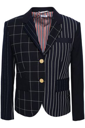 THOM BROWNE Patchwork-effect printed wool-blend blazer