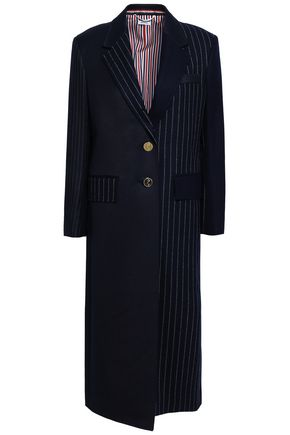 THOM BROWNE Patchwork-effect striped wool-twill and felt coat
