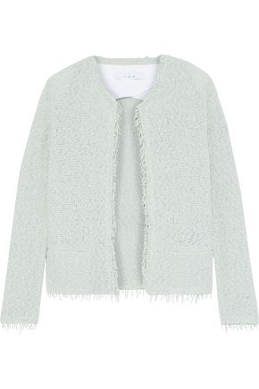 IRO Shavani frayed cotton-blend bouclé jacket