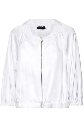 DONNA KARAN Shirred sateen jacket