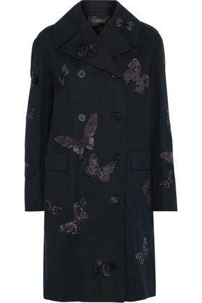 VALENTINO Double-breasted appliquéd cotton-gabardine coat