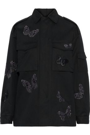 VALENTINO Appliquéd cotton-twill jacket